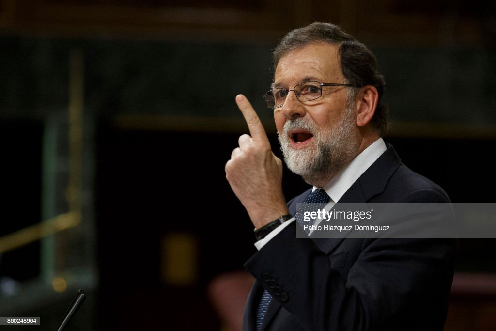 Spanish Prime Minister Mariano Rajoy Speaks At The Spanish Parliament