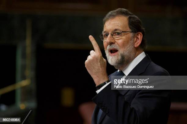 Spanish Prime Minister Mariano Rajoy speaks at the Spanish Parliament following the Catalonian independence vote on October 11 2017 in Madrid Spain...