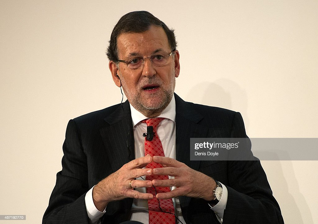 Spanish Prime Minister Mariano Rajoy speaks during a conference hosted by the Financial Times newspaper titled 'Restoring Competitiveness' at the Ritz hotel on October 14, 2014 in Madrid, Spain. Mr Rajoy has said that the calling off of the Catalan self-determination referendum was 'excellent news'. Later, Catalan leader Artur Mas, said in Barcelona that he would be going ahead with plans for an alternative self-determination referendum.