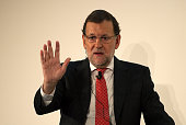 Spanish Prime Minister Mariano Rajoy speaks during a conference hosted by the Financial Times newspaper titled 'Restoring Competitiveness' at the...