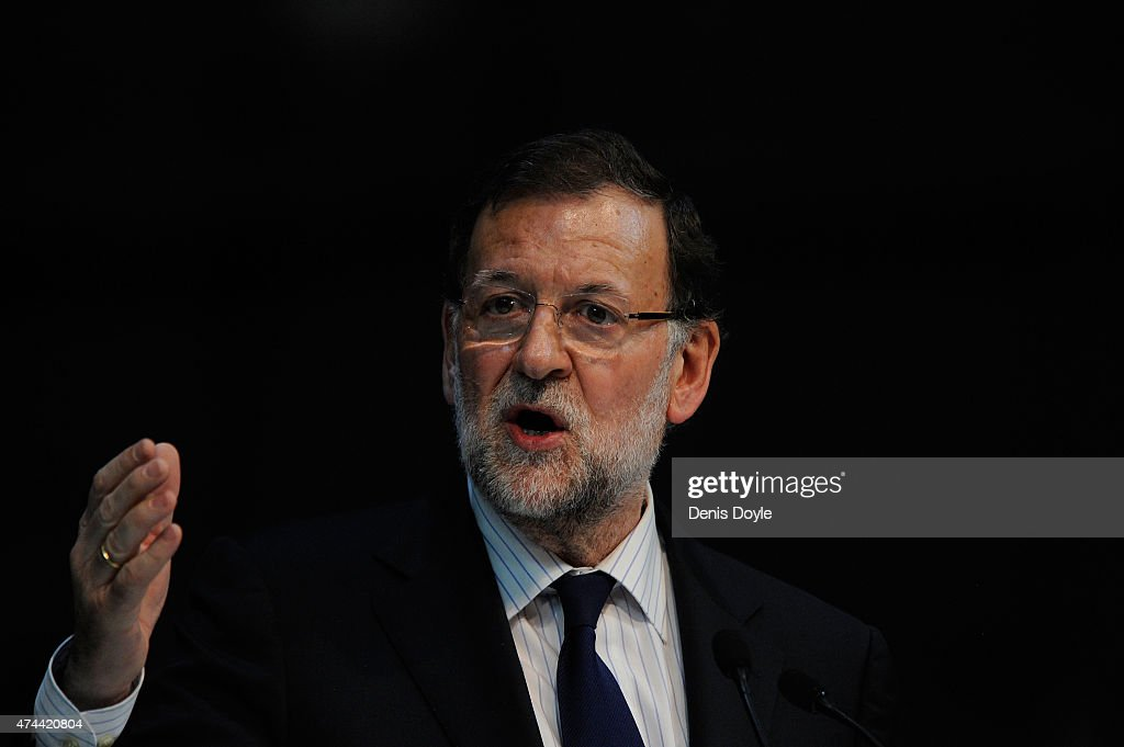 Spanish Prime Minister Mariano Rajoy speaks during a Popular Party election rally on May 22, 2015 in Madrid, Spain. Spain will hold Regional and Municipal Elections on May 24.