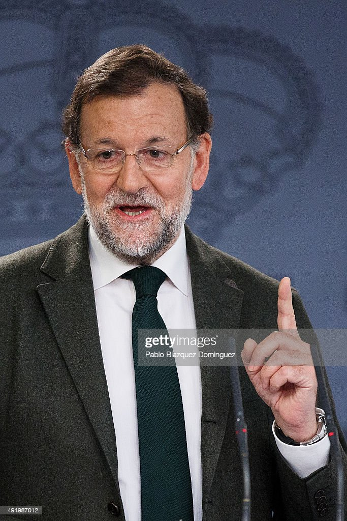 Spanish Prime Minister Mariano Rajoy speaks during a press conference after his meetings with Ciudadanos party leader Albert Rivera and Podemos party leader Pablo Iglesias at Moncloa Palace on October 30, 2015 in Madrid, Spain. Rajoy is due to meet with Ciudadanos (Citizens) party leader Albert Rivera and Podemos (We Can) party leader Pablo Iglesias for the first time today to discuss the Catalan's independence challenge. Two Catalan secessionist parties are due to approve a resolution in the regional parliament which will start the process of forming a new state.
