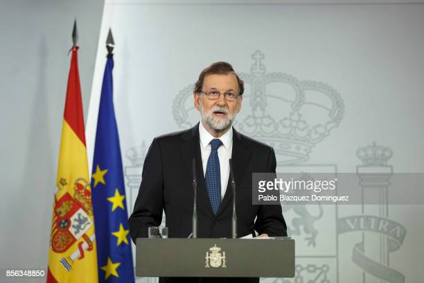 Spanish Prime Minister Mariano Rajoy speaks during a press statement about the Catalonian referendum on October 1 2017 in Madrid Spain More than five...
