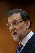 Spanish Prime Minister Mariano Rajoy speaks during Parliament session over allegations on corruption scandals on August 1 2013 in Madrid Spain Rajoy...