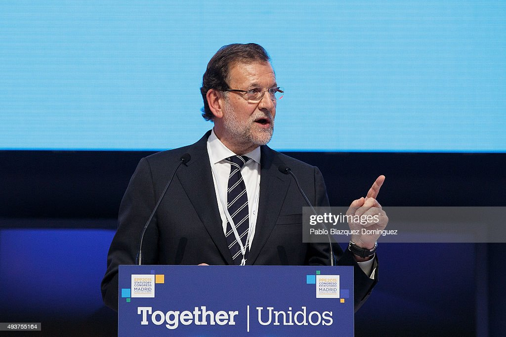 Spanish Prime Minister Mariano Rajoy speaks during the plenary session of the European People's Party (EPP) Congress on October 22, 2015 in Madrid, Spain. Madrid is hosting the European People's Party (EPP) for two days of congress, gathering conservative parties from across Europe and 14 heads of states from EU and non-EU countries. Some of main issues the EPP congress are to discuss will be economic policies and immigration.