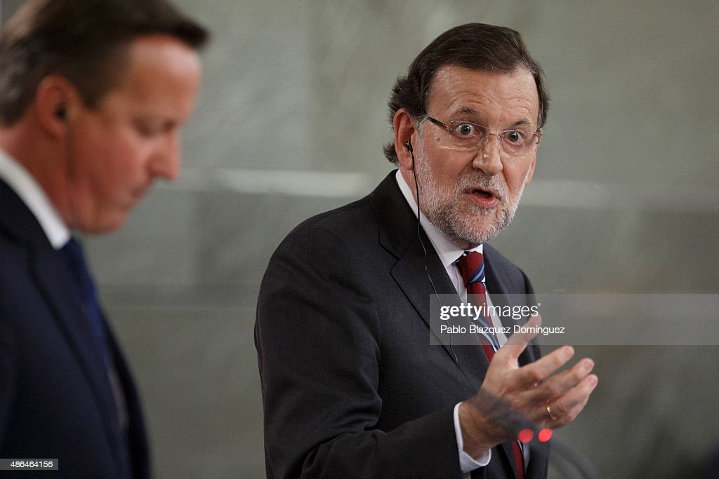 Spanish Prime Minister Mariano Rajoy (R) speaks next to British Prime Minister <a gi-track='captionPersonalityLinkClicked' href=/galleries/search?phrase=David+Cameron+-+Politiker&family=editorial&specificpeople=227076 ng-click='$event.stopPropagation()'>David Cameron</a> (L) during a press conference at Moncloa Palace on September 4, 2015 in Madrid, Spain. <a gi-track='captionPersonalityLinkClicked' href=/galleries/search?phrase=David+Cameron+-+Politiker&family=editorial&specificpeople=227076 ng-click='$event.stopPropagation()'>David Cameron</a> is visiting Spain and Portugal as part of a tour to seek for support from fellow European leaders to go along with a renegotiation of Britain's EU membership. Rajoy and Cameron are also expect to talk about the refugees crisis the European Union is facing.