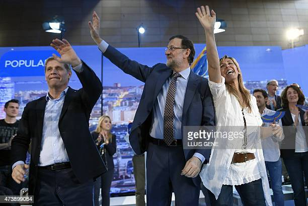 Spanish Prime Minister Mariano Rajoy the President of the Popular Party in Catalonia Alicia Sanchez Camacho and candidate for mayor of Barcelona...