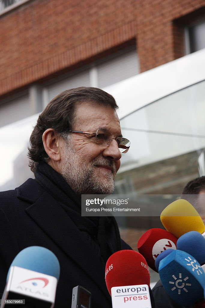Spanish Prime Minister Mariano Rajoy visits King Juan Carlos of Spain at La Milagrosa Hospital on March 4, 2013 in Madrid, Spain. King Juan Carlos of Spain underwent surgery for a lower back disc hernia yesterday. He also had hip surgery last November. The King has had several other health issues in the past two years, including knee surgery and the removal of a benign lung tumor.