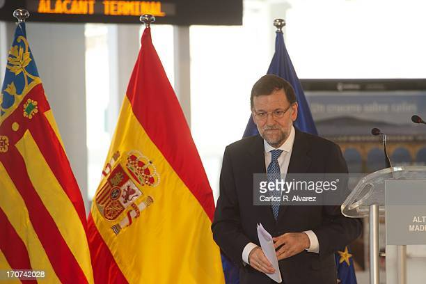 Spanish Prime Minister Marino Rajoy attends the official inauguration of the new Alta Velocidad Espanola high speed Madrid to Alicante rail link at...