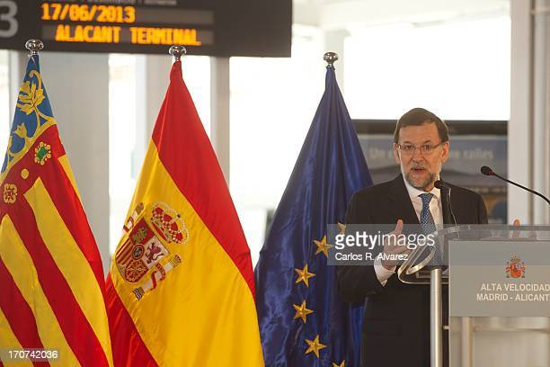 Spanish Prime Minister Marino Rajoy speaks during the official inauguration of the new Alta Velocidad Espanola high speed Madrid to Alicante rail...