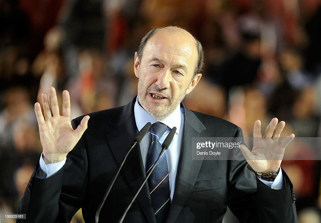 Spanish prime ministerial candidate <a gi-track='captionPersonalityLinkClicked' href=/galleries/search?phrase=Alfredo+Perez+Rubalcaba&family=editorial&specificpeople=692536 ng-click='$event.stopPropagation()'>Alfredo Perez Rubalcaba</a> of the Socialist party (PSOE) addresses the crowd during his party's campaign closing meeting ahead of this weekend's Spanish general elections, at the Pabellon Fernando Martin on November 18, 2011 in Madrid, Spain. Spaniards go to the polls on November 20 to vote for Spain's new Prime Minister and 208 directly elected seats in the Senate, the Spanish Parliament's upper house.