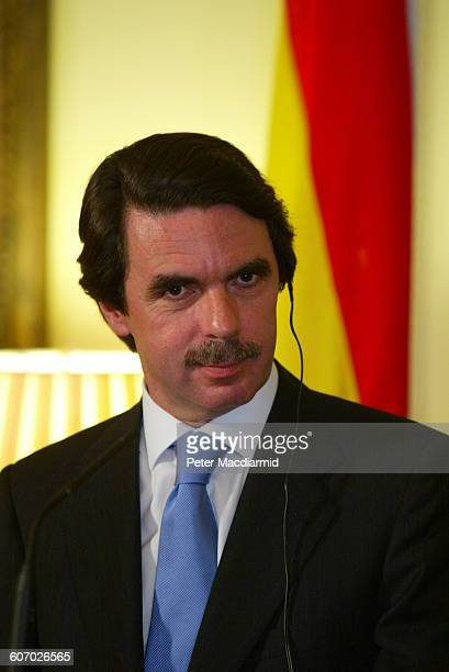 Spanish Prime Minster Jose Maria Aznar attends an event at 10 Downing Street London England April 23 2003