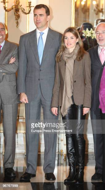 Spanish Prince Felipe and Princess Letizia attends a meeting with 'Prince of Girona Foundation' at Albeniz Palace on February 16 2010 in Barcelona...