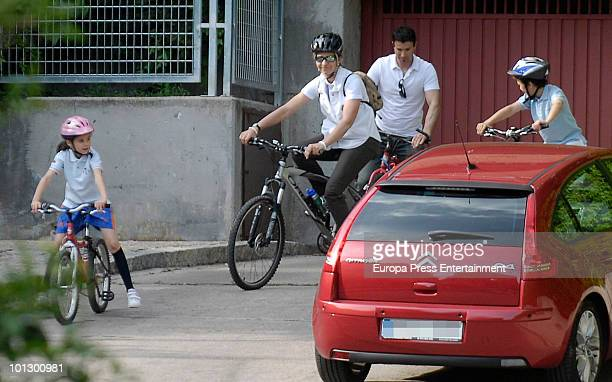 Spanish princess Elena her son Felipe Juan Froilan and her daughter Victoria Federica are seen riding a bike on May 30 2010 in Madrid Spain