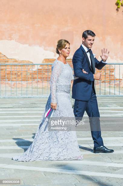 Spanish professional footballer Alvaro Morata and his mother Susana Morata arrive for his wedding to Italian model Alice Campello at the Redentore...