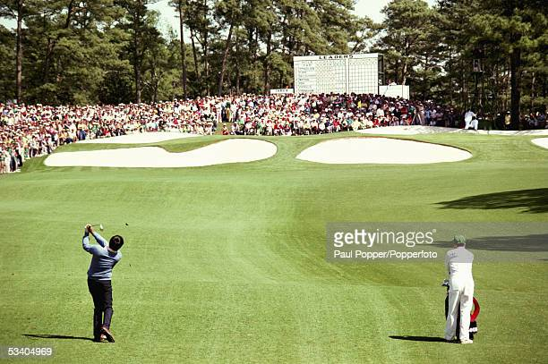 Seve Ballesteros of Spain hits an approach shot during the final round of the US Masters played at the Augusta National Golf Club Augusta GAUSA