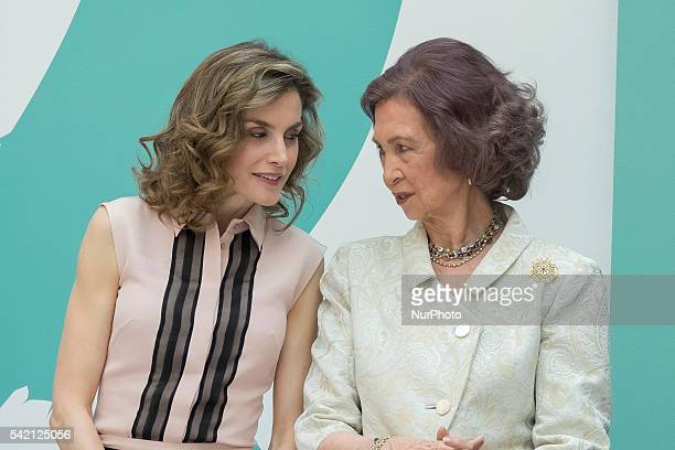 Spanish Queen Letizia and Spanish Queen Sofia during the conmemorative ceremony of the 30th anniversary of Aid against Drug Addiction Foundation at...