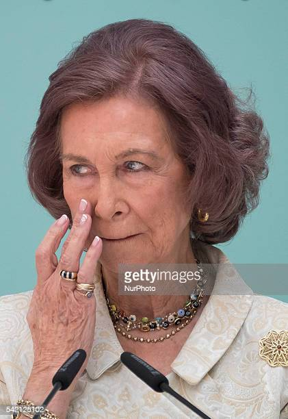 Spanish Queen Sofia during the conmemorative ceremony of the 30th anniversary of Aid against Drug Addiction Foundation at the Real Casa de Correos in...