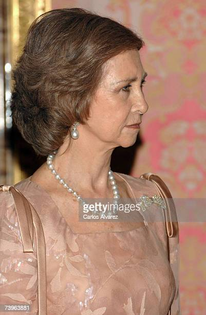 Spanish Queen Sofia receives Pakistani President Pervez Musharraf and wife Sehba Musharraf for a Gala Dinner at the Royal Palace in Madrid Spain