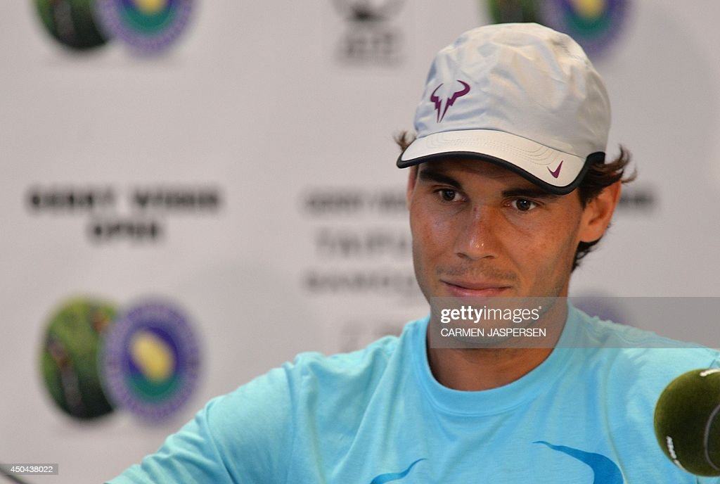 Spanish Rafael Nadal is pictured during a press conference at the ATP Gerry Weber Open tennis tournament in Halle, western Germany on June 11, 2014. AFP PHOTO / CARMEN JASPERSEN