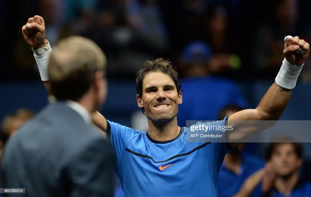 Spanish Rafael Nadal of Team Europe reacts after defeating US Jack Sock of Team World during second day of Laver Cup on September 23, 2017 in O2 Arena in Prague. / AFP PHOTO / Michal Cizek