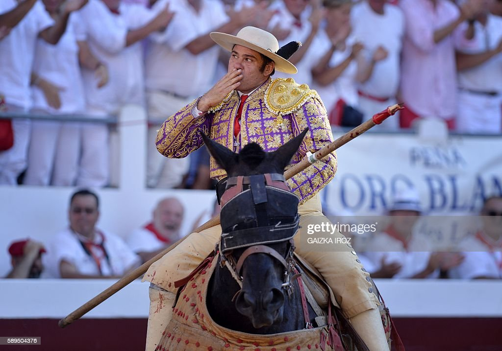 Spanish Rafaelillo's picador Juan Jose Esquivel gestures at Dax arena during the feria in Dax southwestern France on August 14 2016 / AFP / GAIZKA...