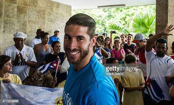 Spanish Real Madrid football team player Sergio Ramos arrives to visit a school in Havana on June 16 2015 Ramos is in Cuba as UNICEF ambassador AFP...
