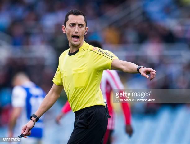 SAN Spanish referee Jose Maria Sanchez Martinez reacts during the La Liga match between Real Sociedad de Futbol and Athletic Club Bilbao at Estadio...