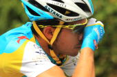 Spanish rider Alberto Contador with team Astana rides along the 2275km route from Montargis to Gueugnon in stage six of the Tour de France July 9...