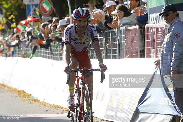 Spanish rider Dani Moreno of team Katusha crosses the finish line 2nd of the 109th edition of the Giro di Lombardia a 245 km cycling race from...