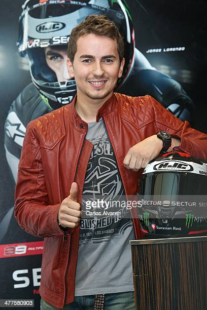 Spanish rider Jorge Lorenzo presents the new 'Sector' watch collection at the Urban Hotel on March 10 2014 in Madrid Spain