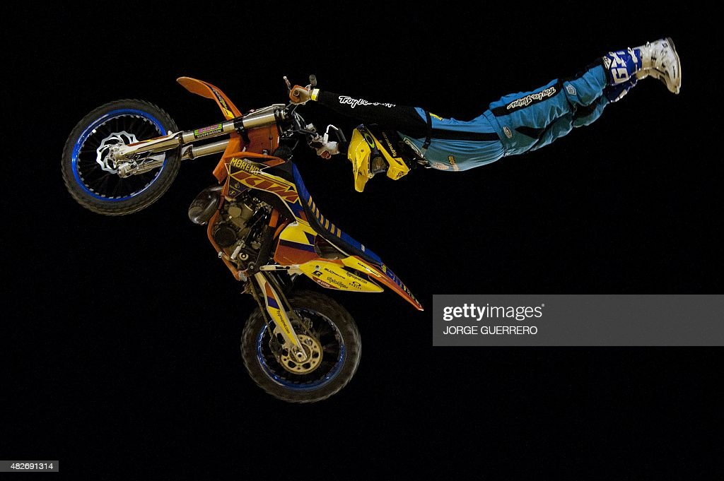 Spanish rider Pedro Moreno jumps during the Malaga Freestyle Motocross show on August 1 2015 AFP PHOTO/ JORGE GUERRERO