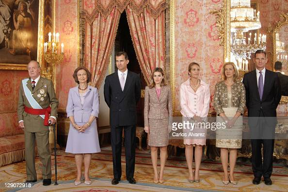 Spanish Royal Family King Juan Carlos Queen Sofia Prince Felipe Princess Letizia Prince Elena Princess Cristina and Inaki Urdangarin attend Spain's...
