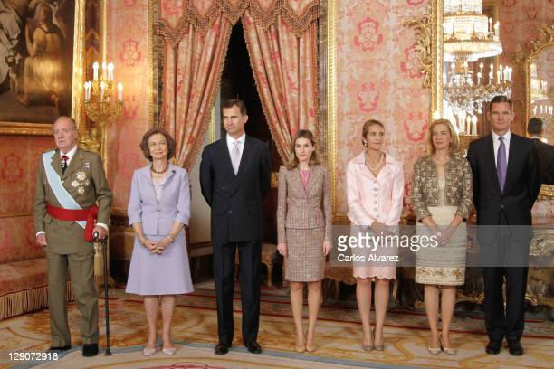 Spanish Royal Family King Juan Carlos Queen Sofia Prince Felipe Princess Letizia Prince Elena Princess Cristina and Inaki Urdangarin attend Spain's...
