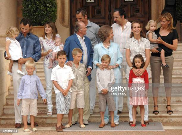 Spanish Royal Family pose for photographers at Marivent Palace on August 6 2007 in MallorcaSpain