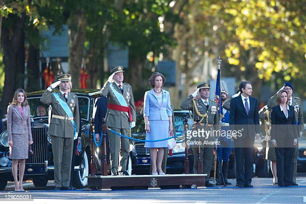 Spanish Royal Family Princess Letizia Prince Felipe King Juan Carlos Queen Sofia Spanish President Jose Luis Rodriguez Zapatero and Spanish Defence...