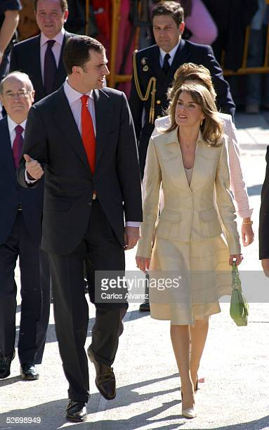 Spanish Royals Crown Prince Felipe and Princess Letizia attend the 'Castilla La Mancha Bussines Awards' at 'Cuenca Auditorium' on April 26 2005 in...