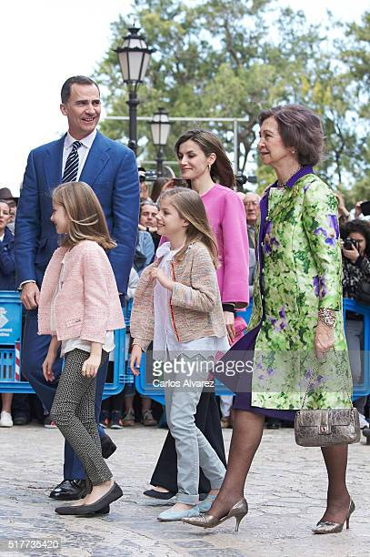 Spanish Royals King Felipe VI of Spain Princess Leonor of Spain Princess Sofia of Spain Queen Letizia of Spain and Queen Sofia attend the Easter Mass...