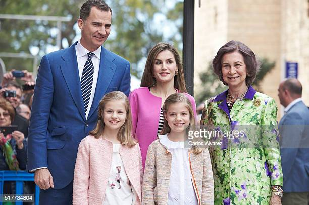 Spanish Royals King Felipe VI of Spain Princess Leonor of Spain Queen Letizia of Spain Princess Sofia of Spain and Queen Sofia attend the Easter Mass...