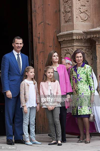 Spanish Royals King Felipe VI of Spain Princess Sofia of Spain Princess Leonor of Spain Queen Letizia of Spain and Queen Sofia attend the Easter Mass...