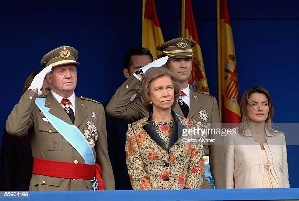 Spanish Royals King Juan Carlos Queen Sofia Crown Prince Felipe and Princess Letizia attend Spain's National Day Military Parade in La Castellana...