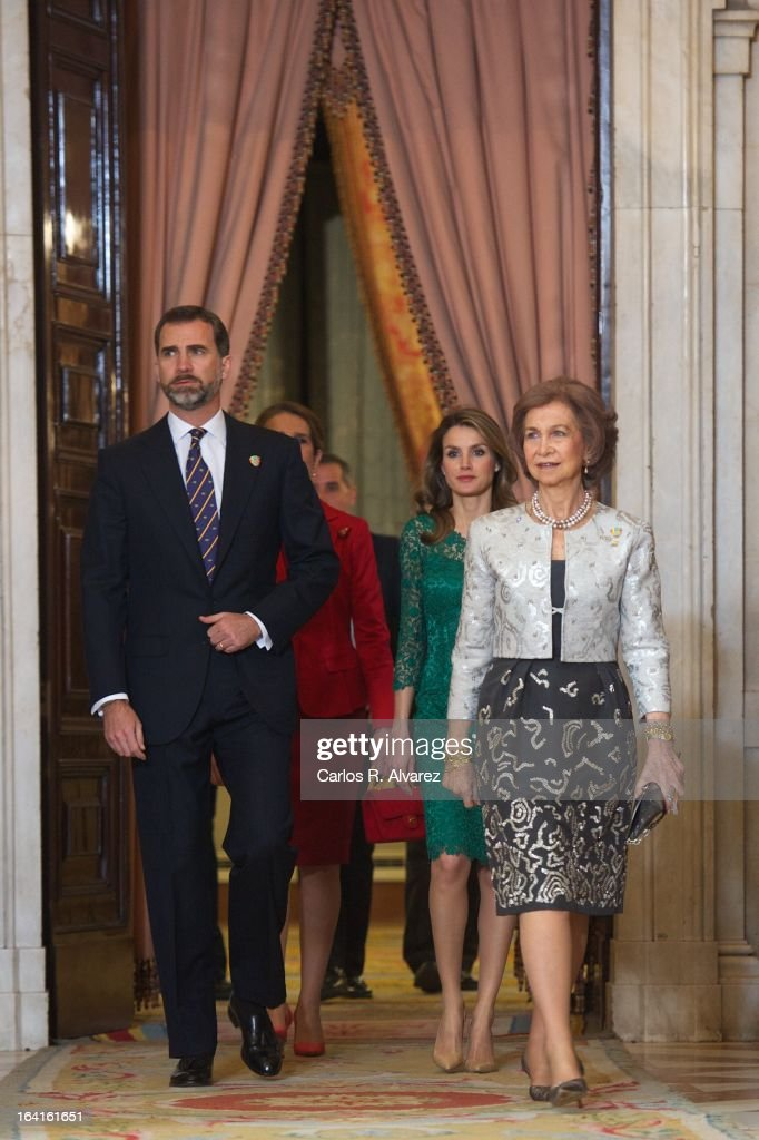 Spanish Royals Prince Felipe, Princess Elena, Princess Letizia and Queen Sofia receive International Olympic Committee Evaluation Commission Team for a dinner at the Royal Palace on March 20, 2013 in Madrid, Spain.