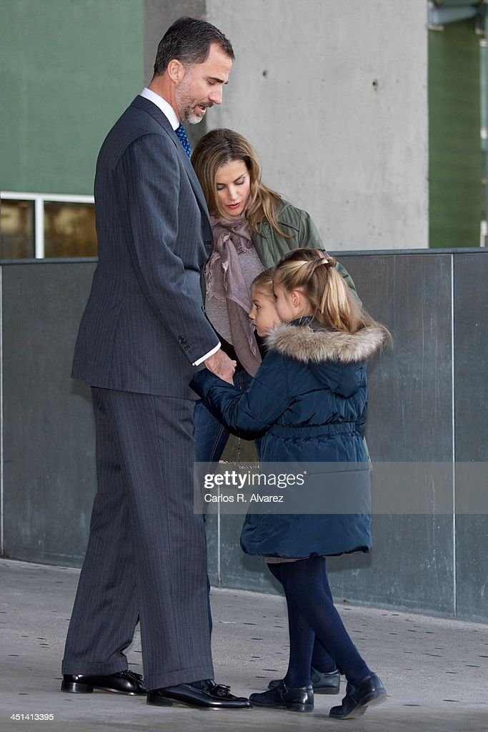 Spanish Royals Prince Felipe Princess Letizia Princess Sofia and Princess Leonor visit King Juan Carlos of Spain at the Quiron University Hospital on...