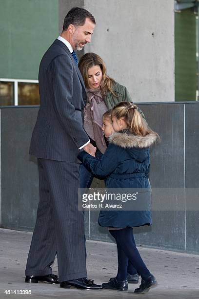 Spanish Royals Prince Felipe Princess Letizia Princess Sofia and Princess Leonor visit King Juan Carlos of Spain at the Quiron University Hospital on...