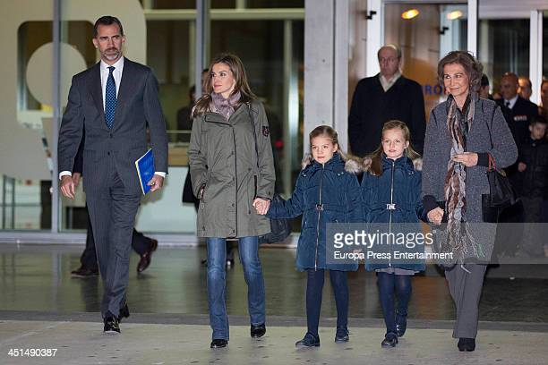Spanish Royals Prince Felipe Princess Letizia Princess Sofia Princess Leonor and Queen Sofia visit King Juan Carlos of Spain at the Quiron University...