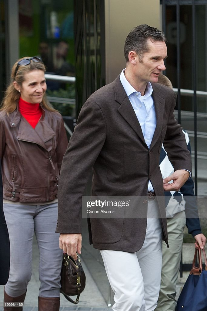 Spanish Royals Princess Elena and <a gi-track='captionPersonalityLinkClicked' href=/galleries/search?phrase=Inaki+Urdangarin&family=editorial&specificpeople=159330 ng-click='$event.stopPropagation()'>Inaki Urdangarin</a> visit King Juan Carlos of Spain at USP San Jose Hospital on November 25, 2012 in Madrid, Spain. King Juan Carlos of Spain underwent an operation on his left hip.