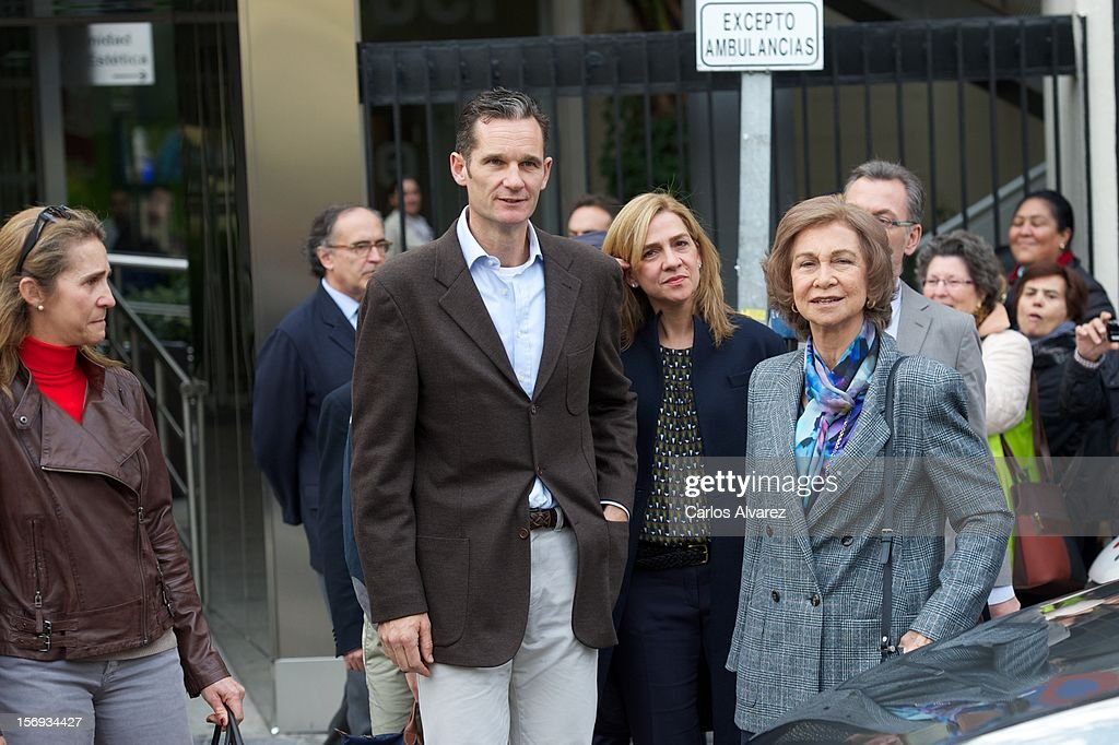 Spanish Royals Princess Elena, <a gi-track='captionPersonalityLinkClicked' href=/galleries/search?phrase=Inaki+Urdangarin&family=editorial&specificpeople=159330 ng-click='$event.stopPropagation()'>Inaki Urdangarin</a>, Princess Cristina and Queen Sofia visit King Juan Carlos of Spain at USP San Jose Hospital on November 25, 2012 in Madrid, Spain. King Juan Carlos of Spain underwent an operation on his left hip.