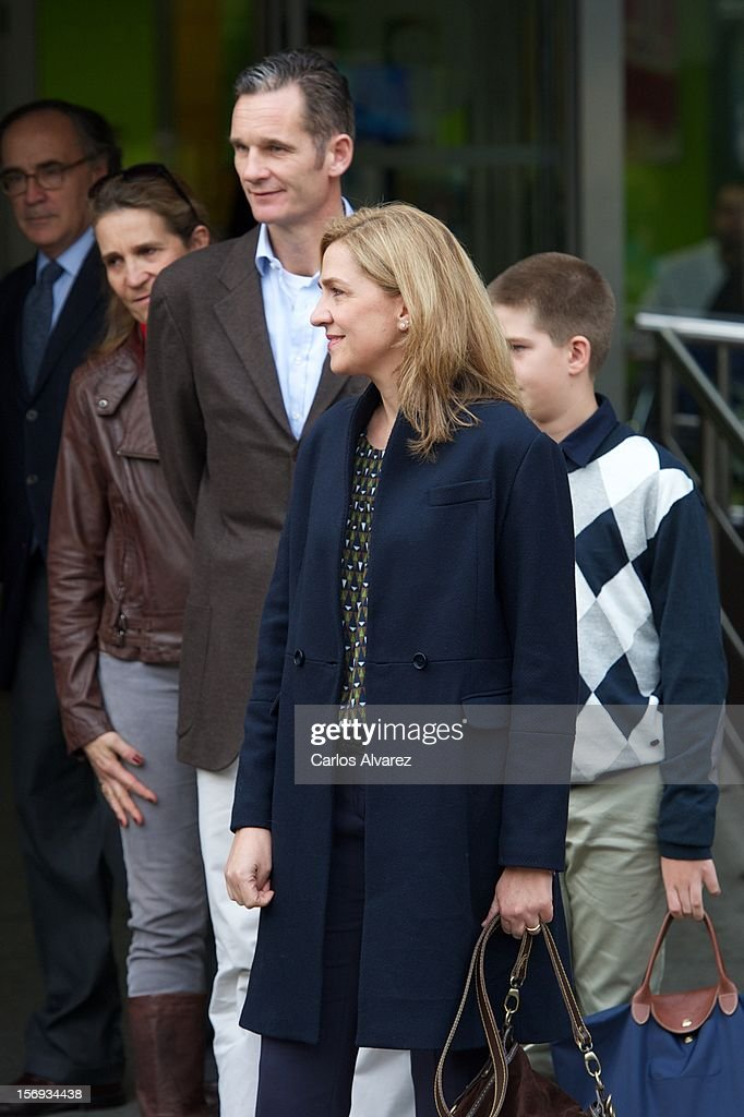 Spanish Royals Princess Elena, <a gi-track='captionPersonalityLinkClicked' href=/galleries/search?phrase=Inaki+Urdangarin&family=editorial&specificpeople=159330 ng-click='$event.stopPropagation()'>Inaki Urdangarin</a>, Princess Cristina and Juan Pablo Urdangarin visit King Juan Carlos of Spain at USP San Jose Hospital on November 25, 2012 in Madrid, Spain. King Juan Carlos of Spain underwent an operation on his left hip.