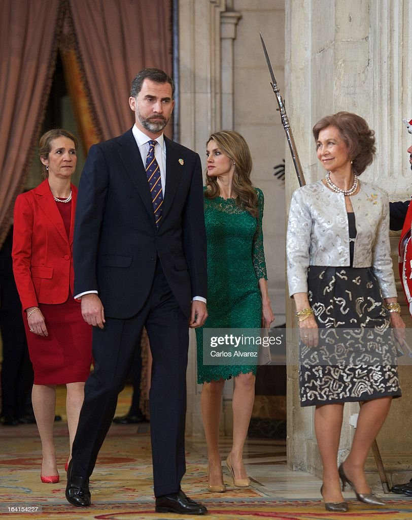 Spanish Royals Princess Elena, Prince Felipe, Princess Letizia and Queen Sofia receive International Olympic Committee Evaluation Commission Team for a dinner at the Royal Palace on March 20, 2013 in Madrid, Spain.