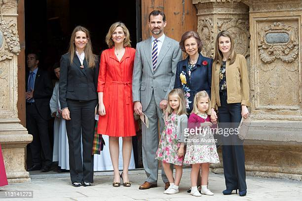 Spanish Royals Princess Elena Princess Cristina Prince Felipe Queen Sofia Princess Letizia and kids Princess Leonor and Princess Sofia attend Easter...